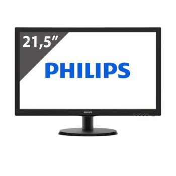 "Монитор Philips 223V5LHSB, 21.5"" (54.61 cm) TN панел, Full HD, 5 ms, 10 000 000:1, 250 cd/m2, HDMI, VGA image"