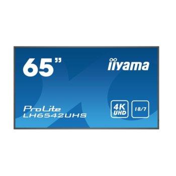 "Публичен дисплей IIYAMA LH6542UHS-B1, 64.5"" (163.83 cm) 4K/UHD LED панел, 2GB DDR4, 16GB eMMC, LAN, HDMI, DVI-D, VGA image"