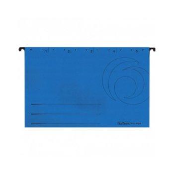 Папка картотека Herlitz Easyorga, V-образна, изработена от картон, с метални шини, синя, 5бр. в опаковка image
