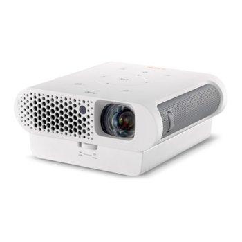 Проектор BenQ GS1 Portable, DLP, 3D Ready, HD 720 (1280 x 720), 100 000:1, 300 lm, Wi-Fi, Bluetooth 4.0, HDMI, USB 3.0, microSD slot, IPX1 устойчив image