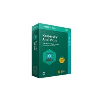 Софтуер Kaspersky AntiVirus 2020, 1 потребител, 1 година renewal, Box image