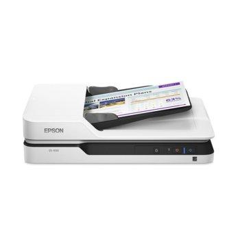 Скенер Epson WorkForce DS-1630, 1200 x 1200 dpi, A4, двустранно сканиране, ADF, USB 3.0, бял image