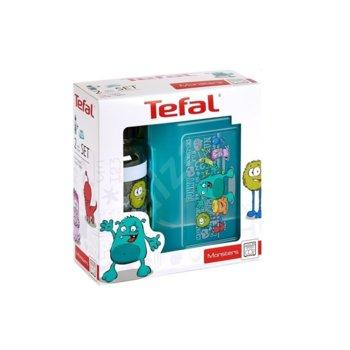 Кутия за съхранение Tefal Kids Set Tritan Monster, със бутилка 0.4L, с капак, пластмаса, чудовище image