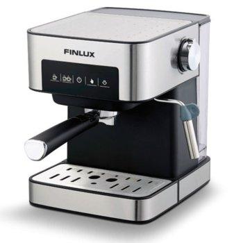 Кафемашина Finlux FEM-1794, 850W, 15 bar-a, защита от прегряване,регулируема пара за улеснена работа, филтър за перфектен каймак, сребриста image
