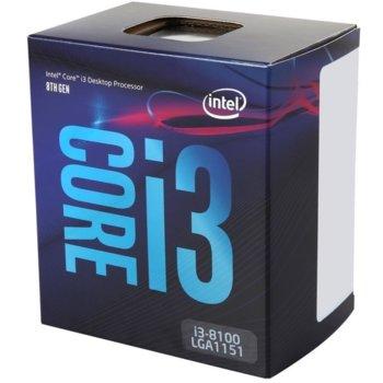 Процесор Intel Core i3-8100 четириядрен (3.60GHz, 6MB Cache, 350MHz-1.10GHz GPU, LGA1151) BOX, с охлаждане image