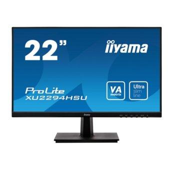 """Монитор Iiyama XU2294HSU-B1, 21.5"""" (54.61 cm), VA, Full HD, 4ms, 80000000:1, 250 cd/m², Display Port, HDMI, VGA, USB image"""