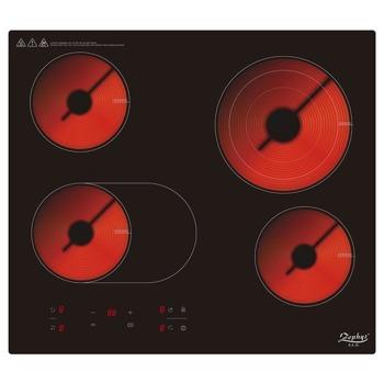 Стъклокерамичен плот за вграждане Zephyr ZP 1445 IR4, 4 нагревателни зони, инфрачервен нагревател, 9 степени на мощност, независим таймер, защита за деца, защита от прекомерно нагряване, защита от високо или ниско напрежение, 6700W, черен image