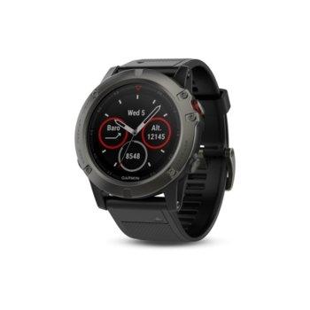 """Смарт часовник Garmin fēnix 5X, 1.2"""" (30.4 mm), Bluetooth, GPS, 12GB Flash памет, до 20 часа време за работа, черен image"""