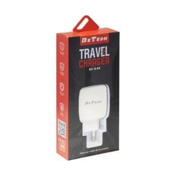 Зарядно устройство DE-33, от контакт към 2 x USB A(ж), 5V, 2.4A, кабел от USB A(м), бял image