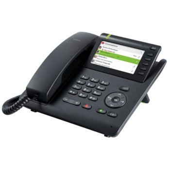 Стационарен телефон Unify OpenScape Desk Phone CP600, PoE, Switch, 12 програмируеми бутона, Опция стойка за стена, жах за hands-free, черен image