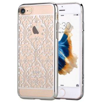 Калъф за Apple iPhone 7, страничен протектор с гръб, поликарбонат, Devia Crystal Baroque, с кристали Сваровски, сребрист image