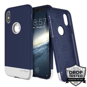 Калъф за Apple iPhone XS, хибриден, Prodigee Fit Pro IPHX-FITP-NVY-SLV, удароустойчив, тъмно син/сребрист image