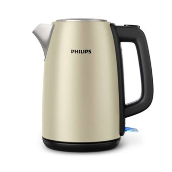 Електрическа кана Philips Daily Collection HD9352/50, вместимост 1,7л, капак с пружина, микромрежест филтър, светлинен индикатор, 2200W, метал, цвят шампанско image