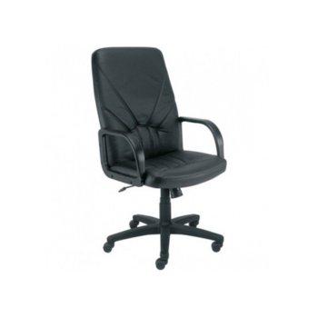 Директорски стол Manager, естествена кожа, подлакътници, газов амортисьор, люлеещ и заключващ механизъм, черен image