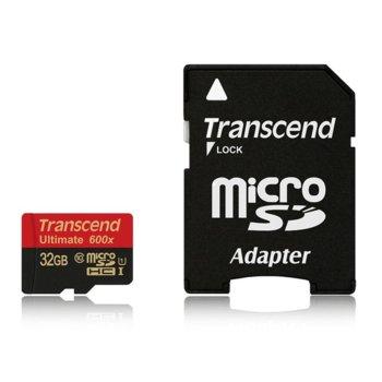 Карта памет 32GB microSDHC, с SD адаптер, Transcend Ultimate 600x, Class 10 UHS-I, скорост на четене 90MB/s read, скорост на запис 10MB/s image