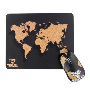 Комплект мишка и пад TnB World, оптична (1000 dpi), безжична, USB, черна image