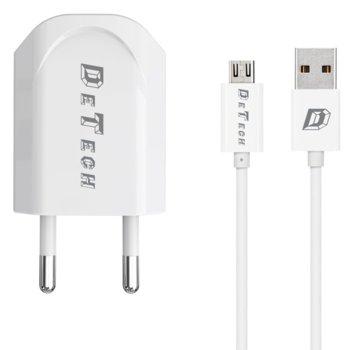 DeTech 5V/1A 220V 1 x USB A(ж) бял с кабел 14115 product