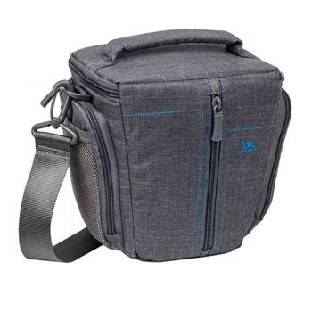 Раница за фотоапарат Rivacase 7501 Grey, за SLR фотоапарати и аксесоари, полиестер, покривало против дъжд, преден джоб с цип, заден и два странични джоба за аксесоари, сива image