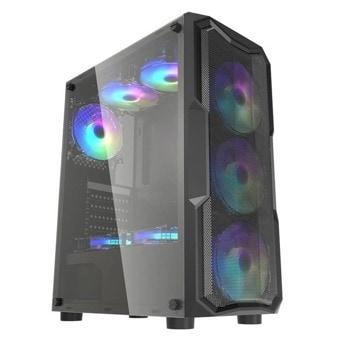 Кутия Inaza Aquarius Mesh (AQMESH01-BK), ATX/Micro ATX/Mini-ITX, 1x USB 3.0, прозорец, RGB подсветка, черна, без захранване image