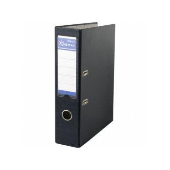 Класьор Rexon, за документи с формат до A4, дебелина 8см, с метален кант, черен image