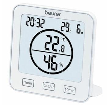 Цифров термо-хигрометър Beurer HM 22, измерва температура и влажност, индикация за качеството на температурата и влажността в помещението, таймер, дата и час, бял image