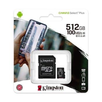 Карта памет 512GB microSDHC с адаптер, Kingston Canvas Select Plus, Class 10 UHS-I, скорост на четене 100MB/s, скорост на запис 85 MB/s image