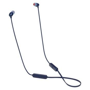 Слушалки JBL T115BT, безжични (Bluetooth 4.2), микрофон, контрол на зука, 8 часа време за работа, сини image