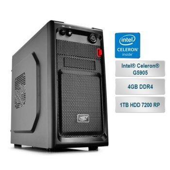 "Настолен компютър PC ""Small Office 4"", двуядрен AMD Athlon 200GE 3.2GHz, 4GB DDR4, 1TB HDD 7200 rp, USB 3.1, Free DOS image"