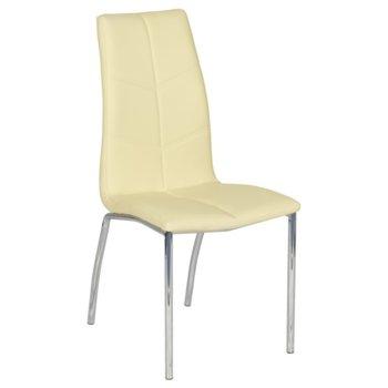 Трапезен стол Carmen 314, еко кожа, хромирани крака, жълт image