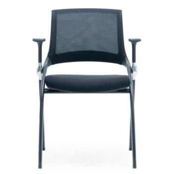 Посетителски стол RFG Swiss M, дамаска и меш, черна седалка, черна облегалка, 2 броя в комплект image