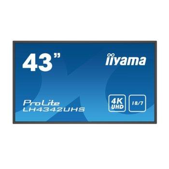 "Публичен дисплей IIYAMA LH4342UHS-B1, 42.5""(108.0 cm) 4K/UHD LED панел, 2GB DDR4, 16GB eMMC, LAN, HDMI, DVI-D, VGA image"