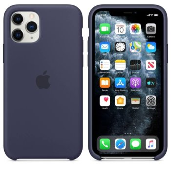 Калъф за Apple iPhone 11 Pro Max, силиконов, Apple Silicone Case MWYW2ZM/A, тъмносин image