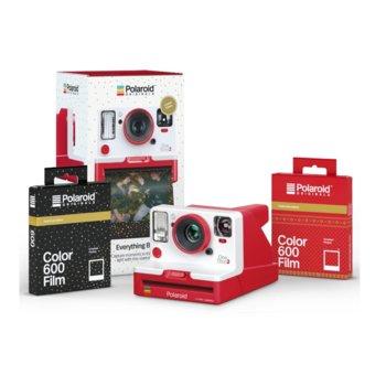 Комплект Polaroid Originals Everything Box Holiday, Polaroid OneStep 2 VF + 1 бр. цветен филм i-Type Festive Red (8 снимки) и 1 бр. цветен филм i-Type Black sand (8 снимки), за моментни снимки, снимки с размер 3.5x4.2ʺ, 106 mm фокусно разстояние image