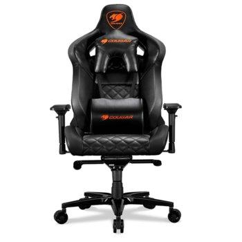 Геймърски стол Cougar Gaming Armor Titan Gaming Chair, висока плътност формовъчна пяна, стоманена рамка, регулируеми подлакътници, черен image