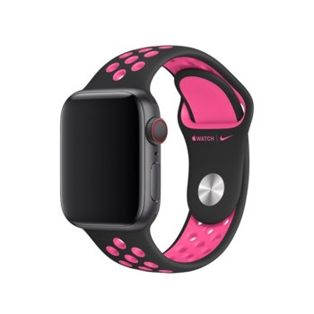 Каишка за смарт часовник Apple Watch (40mm) Nike Band: Black/Pink Blast Nike Sport Band - S/M & M/L, черна/розова image