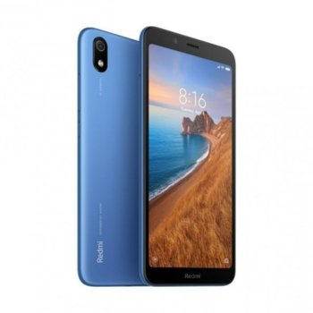 "Смартфон Xiaomi Redmi 7A (син), поддържа 2 sim карти, 5.45"" (13.84 cm) IPS LCD дисплей, осемядрен Snapdragon 439 2.0 GHz, 2GB RAM, 16GB Flash памет (+ microSD слот), 13.0 & 5.0 MPix камера, Android, 165g image"