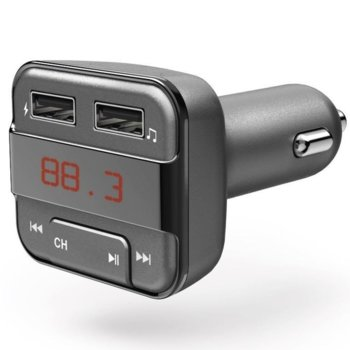 FM Трансмитер HAMA 183274, Bluetooth, 2x USB и MicroSD до 32GB, Сив image