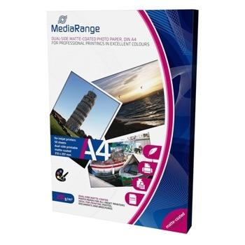Фотохартия MEDIARANGE MATTE, A4, матова, 250 g/m2, 50 листа image