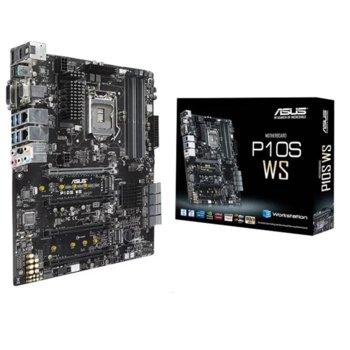 Дънна платка Asus P10S WS Professional, C236, LGA1151, PCI-E 3.0 (HDMI&VGA&DVI-D&DP)(CFX), 8x SATA3, 2x M.2, 2 x USB 3.1, ATX,  image