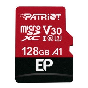 Карта памет 128GB microSDXC с адаптер, Patriot EP Series (PEF128GEP31MCX), Class 10 U3, скорост на четене 90MB/s, скорост на запис 80MB/s image