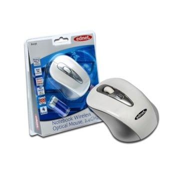 Мишка Ednet EDN-81036, оптична (1000 dpi), безжична до 6м охват, бялa, с четири бутона image