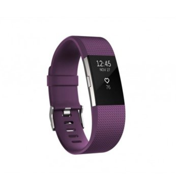 Смарт гривна Fitbit Charge 2 Small Size, Bluetooth, GPS, OLED Display, Mac OS X 10.6 (или по-нова), iPhone 4S (или по-нова), iPad 3 gen. (или по-нова), Android and Windows 10 devices, лилава image