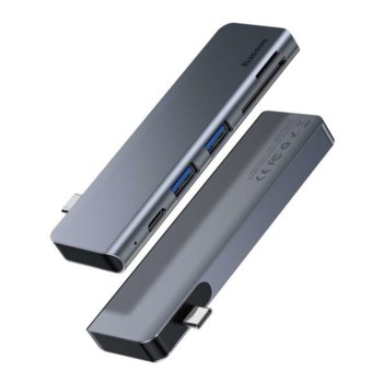 USB Хъб Baseus Harmonica 38179, 5 port, USB стандарт 3.0, SD/MicroSD слот, сив image