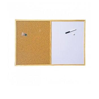 Комбинирана дъска, с дървена рамка, размер 400x600 mm, кафява и бяла image