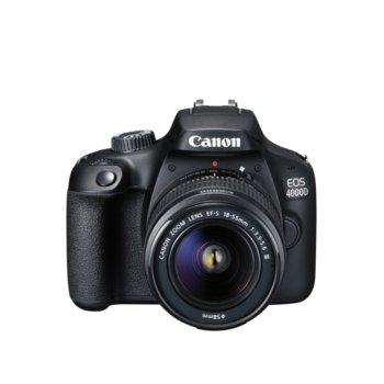 "Фотоапарат Canon EOS 4000D + обектив EF-s 18-55mm f/3.5-5.6 DC III, 18.0 MPix, 2.7""(6.85cm) LCD дисплей, SD card слот, HDMI Mini(Type-C), Wi-Fi image"