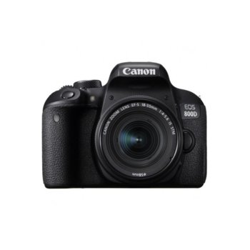 "Фотоапарат Canon EOS 800D(черен) в комплект с обективи Canon EF-S 18-55mm IS STM и EF 50mm f/1.8 STM, 24.2 Mpix, 3.0"" (7.62 cm)TFT сензорен дисплей, Wi-Fi, HDMI mini, USB, SDXC/SDHC/SD слот image"