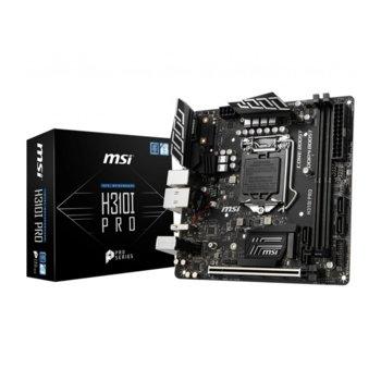 Дънна платка MSI H310I PRO, H310, LGA1151, DDR4, PCI-E (DP&DVI), 4x SATA 6Gb/s, 1x M.2 slot, 4x USB 3.1 Gen1, mini ITX image