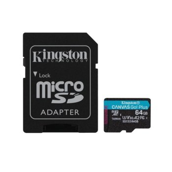 Карта памет 64GB MicroSDXC с адаптер, Kingston Canvas Go! Plus, Class 10 UHS-I, скорост на четене 170MB/s, скорост на запис 70 MB/s image