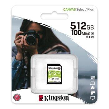 Карта памет 512GB SDHC, Kingston Canvas Select Plus, Class 10 UHS-I, скорост на четене 100MB/s, скорост на запис 85MB/s image
