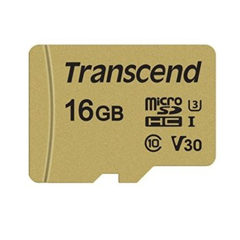 Карта памет 16GB microSDHC, с SD адаптер, Transcend 500S, Class 10 UHS-I U3, скорост на четене 95MB/s, скорост на запис 60MB/s image